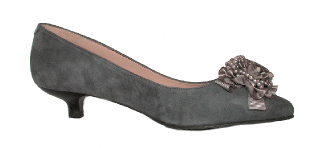 933f9a26bb3 The Queen s Shoes - Shoe No 47 - kitten heel grey suede with detailed toe